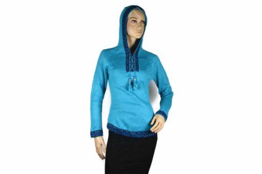 Alpaka Pullover Shakira hellblau (M) mit Kapuze