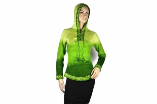 Alpaka Pullover Shakira hellgrün-dunkelgrün (M) mit Kapuze