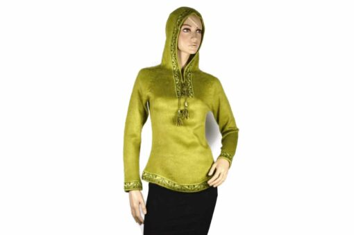 Alpaka Pullover Shakira hellgrün (M) mit Kapuze
