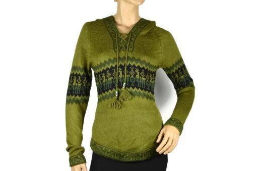 Alpaka Pullover Shakira olivgrün (M) mit Kapuze mit Alpaka-Muster