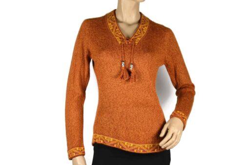 Alpaka Pullover Shakira orange-gelb (M)