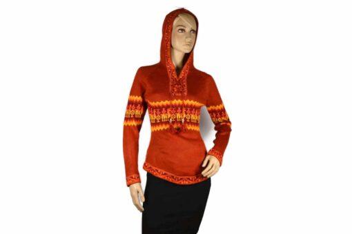 Alpaka Pullover Shakira orange (M) mit Kapuze mit Alpaka-Muster