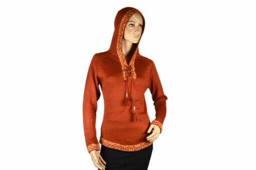 Alpaka Pullover Shakira orange (M) mit Kapuze