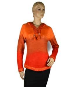 Alpaka Pullover Shakira rot-orange-rosa (M) mit Kapuze
