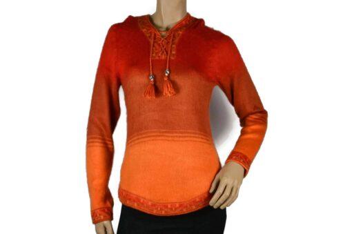 Alpaka Pullover Shakira rot-orange (M) mit Kapuze
