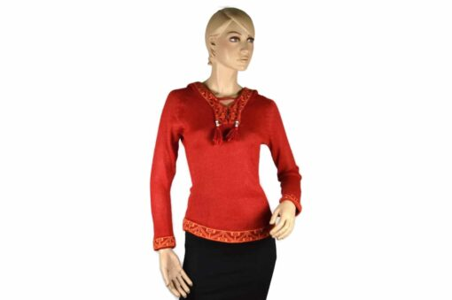 Alpaka Pullover Shakira rot (S) mit Kapuze