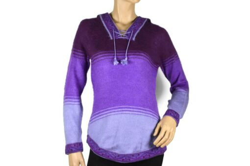 Alpaka Pullover Shakira violett-hell-dunkel (S) mit Kapuze