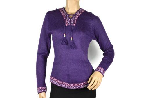 Alpaka Pullover Shakira violett (M) mit Kapuze