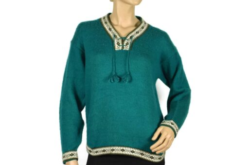 Alpaka Pullover Damen Türkis (M)