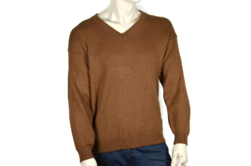 Alpaka Strick V-Ausschnitt Pullover braun (M-)