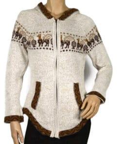 Alpaka Strickjacke Damen beige (S-M)