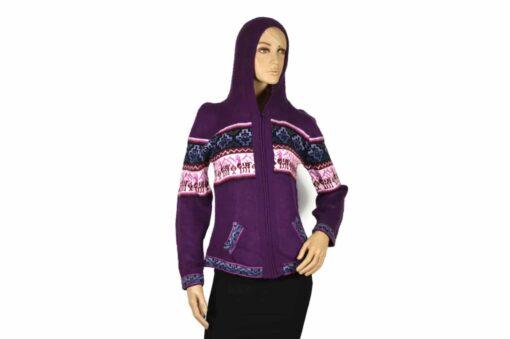 Alpaka Strickjacke Chakana Violett (M)