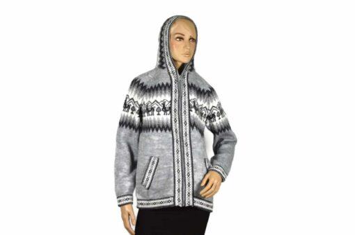 Alpaka Strickjacke Kapuze grau (M)