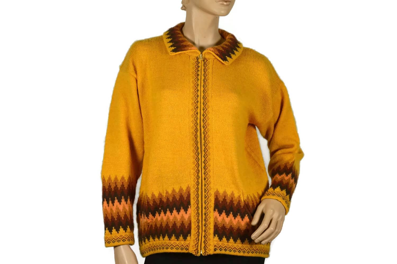 Strickjacke aus Alpaka gelb (M)