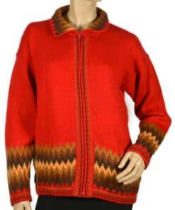 Strickjacke aus Alpaka rot (M)