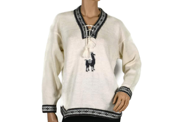 Alpaka Pullover Damen Weiß (M) mit Alapaka auf der Brust
