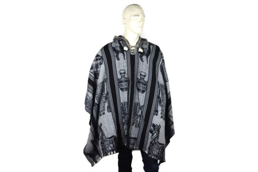 Großer Poncho aus Alpaka grau-schwarz