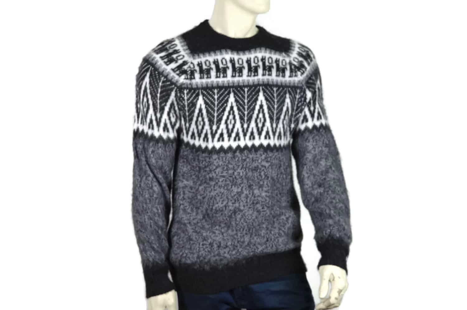 Wilber Calapuja of Peru designs the men's pullover, which features a zippered collar. Patterned Blue and Burgundy Alpaca Men's Knit Sweater,