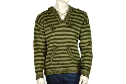 Gestreifter Pullover mit Kängurutasche grün (L)