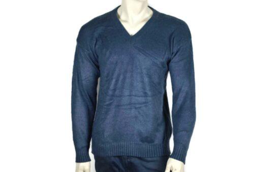 Alpaka Strick V-Ausschnitt Pullover blau (M-L)