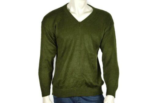 Alpaka Strick V-Ausschnitt Pullover grün (M-L)