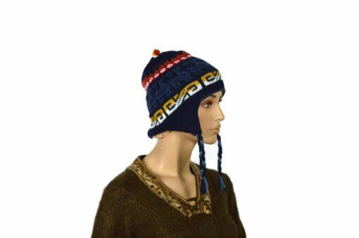 Doppelseitige Alpaka-Mütze, dunkelblau-hellblau, Modell 2