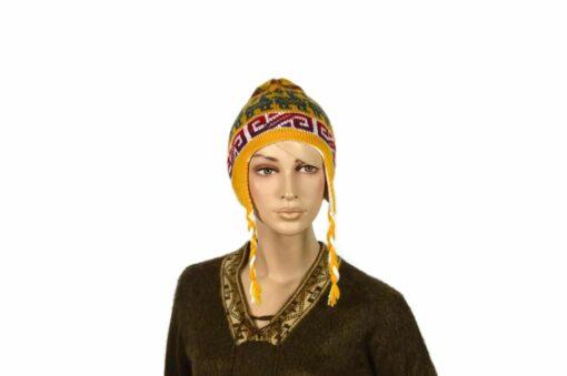 Doppelseitige Alpaka-Mütze, gelb-weiß, Modell 1