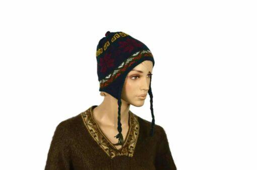 Doppelseitige Alpaka-Mütze, grün-blau, Modell 1