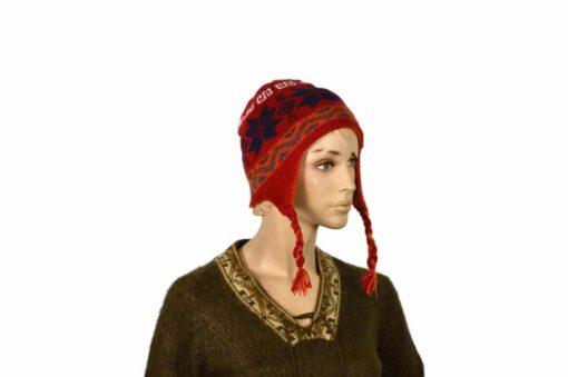 Doppelseitige Alpaka-Mütze, rot-orange, Modell 1