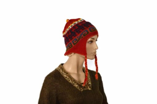 Doppelseitige Alpaka-Mütze, rot-orange, Modell 2