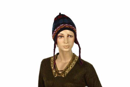 Doppelseitige Alpaka-Mütze, weinrot-schwarz, Modell 1
