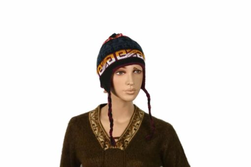 Doppelseitige Alpaka-Mütze, weinrot-schwarz, Modell 2