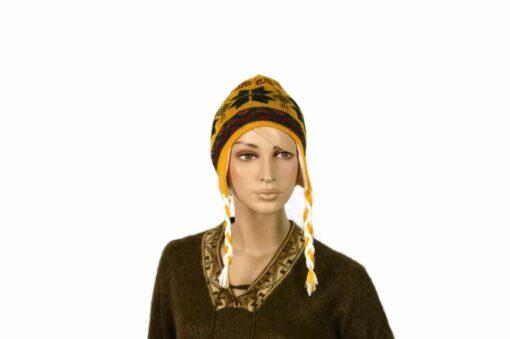 Doppelseitige Alpaka-Mütze, gelb-weiß, Modell 2