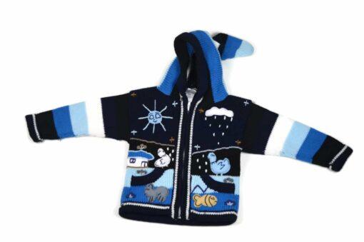 Kinderstrickjacke Blaue Eiswelt Variante 2 (Gr 86)