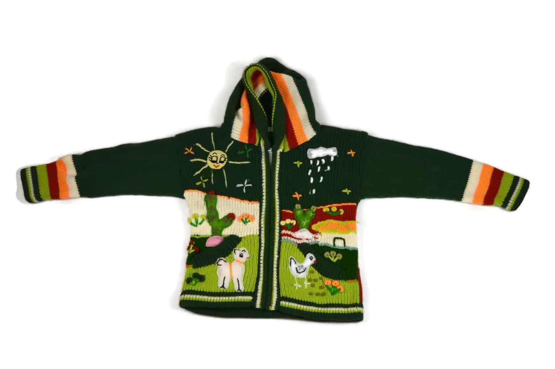 Kinderstrickjacke Grüne Wiese Variante 1 (Gr 98-104)