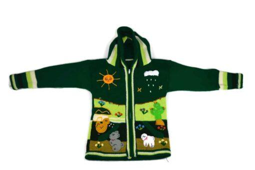 Kinderstrickjacke Grüne Wiese Variante 1 (Gr 110-116)