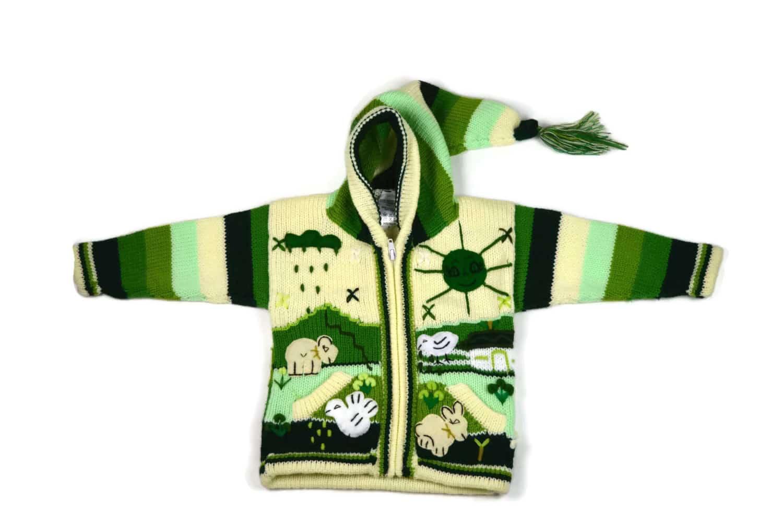 Kinderstrickjacke Grüne Wiese Variante 1 (Gr 86)