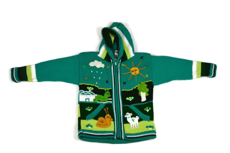 Kinderstrickjacke Grüne Wiese Variante 2 (Gr 98-104)