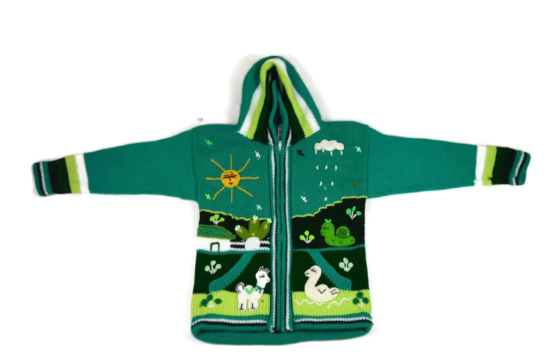 Kinderstrickjacke Grüne Wiese Variante 2 (Gr 110-116)