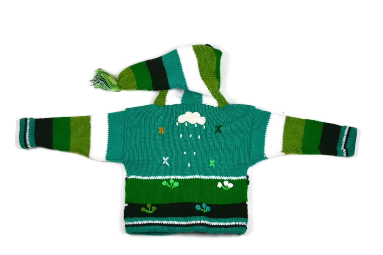 Kinderstrickjacke Grüne Wiese Variante 2 (Gr 80)