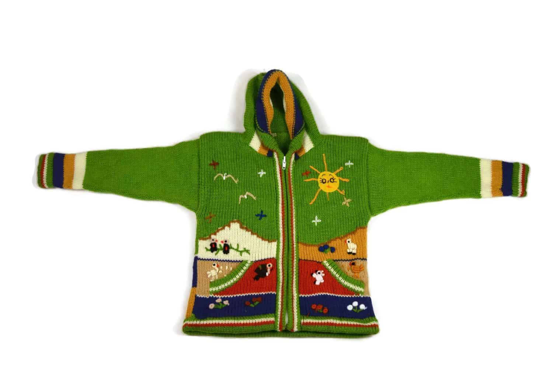 Kinderstrickjacke Grüne Wiese Variante 4 (Gr 98-104)