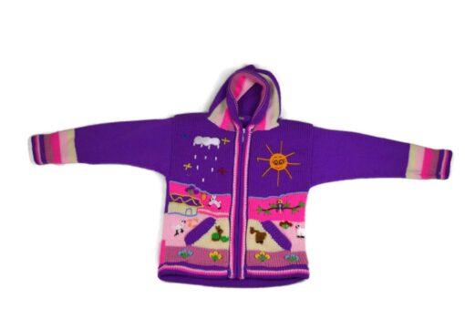 Kinderstrickjacke Violett 116-122 Modell 1