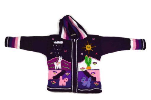 Kinderstrickjacke Violett 116-122 Modell 2
