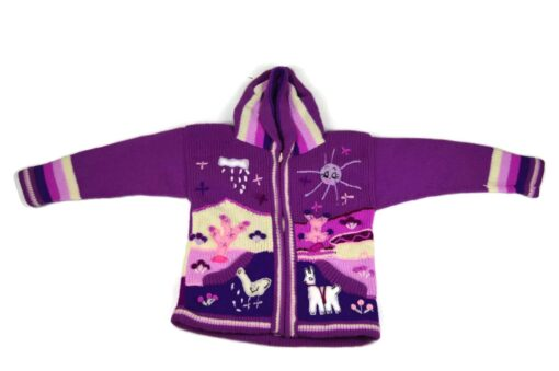 Kinderstrickjacke Violett 116-122 Modell 3