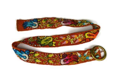 Bestickter Gürtel braun 80-105 cm (rund)