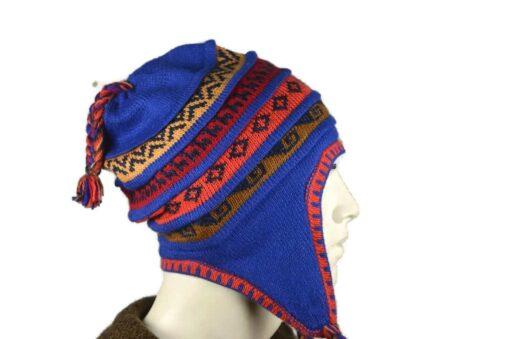Peruanischer Chullo Mütze blau