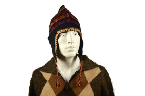 Peruanischer Chullo Mütze schwarz