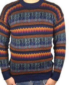 Alpaka Pulli blau-orange