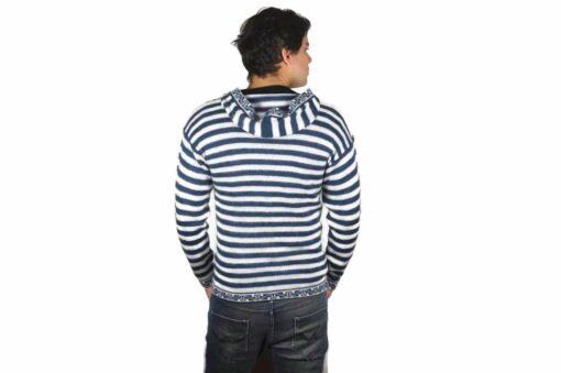 Gestreifter Pullover mit Kängurutasche weiß