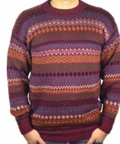 Alpaka Pullover Rayas weinrot
